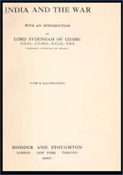 india-and-the-war-by-lord-sydenham-of-combe